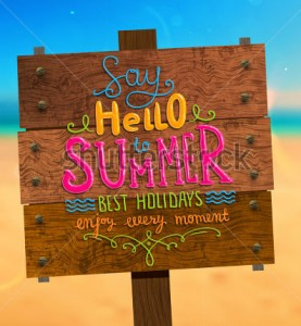 stock-vector-wooden-plaque-with-say-hello-to-summer-best-holidays-enjoy-every-moment-lettering-blurred-190104008